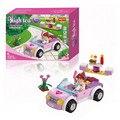 Mundo cor de rosa!! 88 pçs/set Kit Crianças Brinquedos Educativos Blocos de Construção Do Carro Montar Blocos Presentes Para Crianças Meninas
