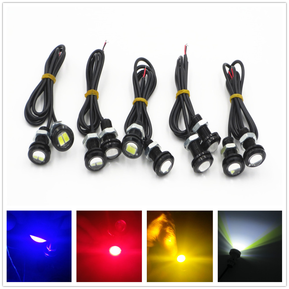 CYAN SOIL BAY 10 X 9W 18mm 12V White Red Blue Amber LED Eagle Eye Light Car Fog DRL Daytime Reverse Backup Parking Signal cyan soil bay car auto t10 25w 30 led smd 4014 lamp parking reverse backup light w16w fog bulb ice blue red amber yellow white