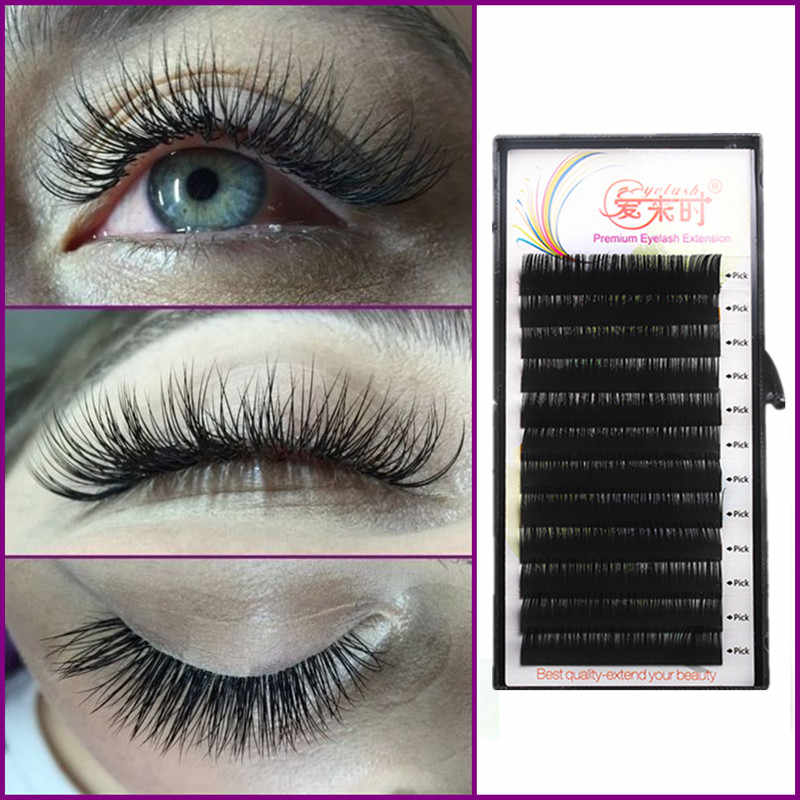 8630ad2440f Silk Mink Eyelash BCD Curl Individual False Eyelash Extension Thick Fake  Cilios Eye Lashes Extension Makeup