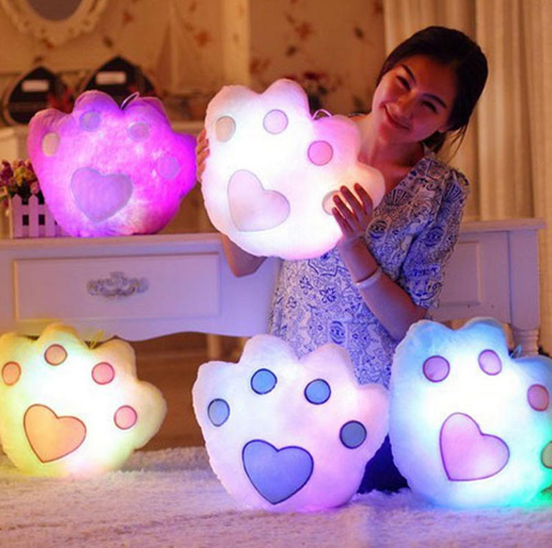 1 PC Anime Plush Toys Kawaii Panda Paw Colorful Led Light Pillow Cute Teddy Luminous Plush ...