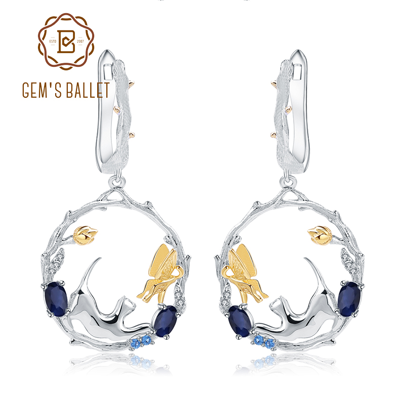 GEM S BALLET 1 22Ct Natural Blue Sapphire Earrings Fine Jewelry 925 Sterling Silver Handmade Cat