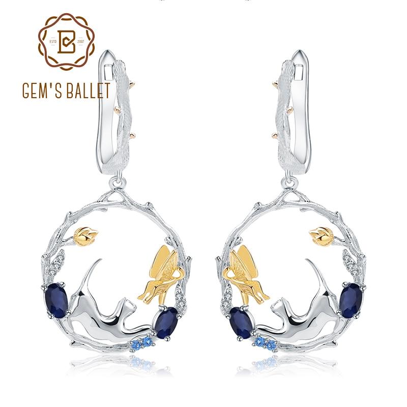GEM S BALLET 1 22Ct Natural Blue Sapphire Earrings Fine Jewelry 925 Sterling Silver Handmade Cat