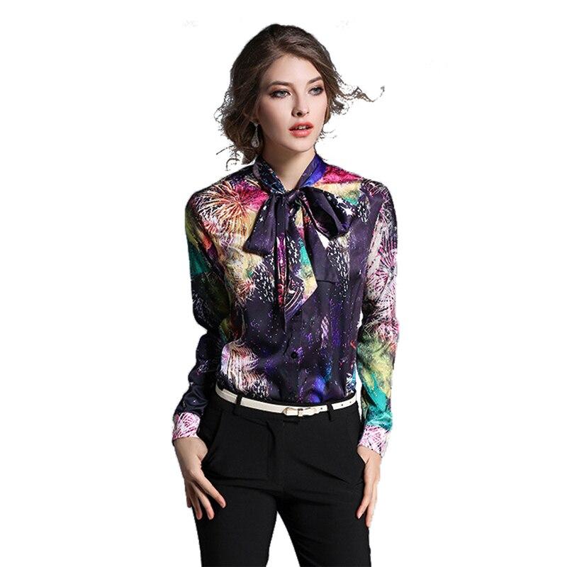 Blusa de seda de 2017 Nuevas Mujeres Del Verano Del Resorte Del Arco de Cuello O