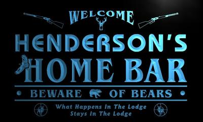 x1081-tm Hendersons Home Bar Hunting Lodge Custom Personalized Name Neon Sign Wholesale Dropshipping On/Off Switch 7 Colors DHL