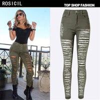 New 2017 Fashion Women High Quality Cotton Denim Army Green High Waist Jeans Female Skinny Pencil