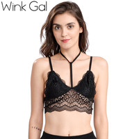 Wink Gal New Sexy Woman Spaghetti Straps Bralette Hollow Out Female Bra Embroidery Lace Floral Halter