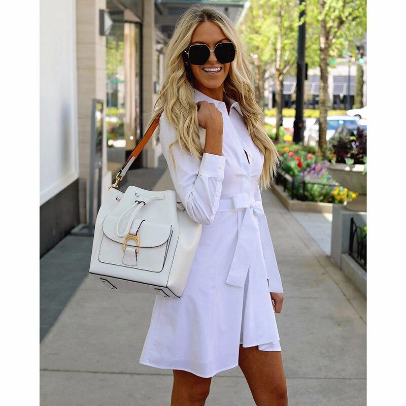 Women Vintage Sashes Button Elegant Dress Long Sleeve