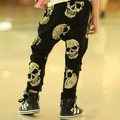 2017 Autumn New Boys girls Casual Long Pants Children Skull Printed Pants Harem Pants Children's casual  pants free shipping