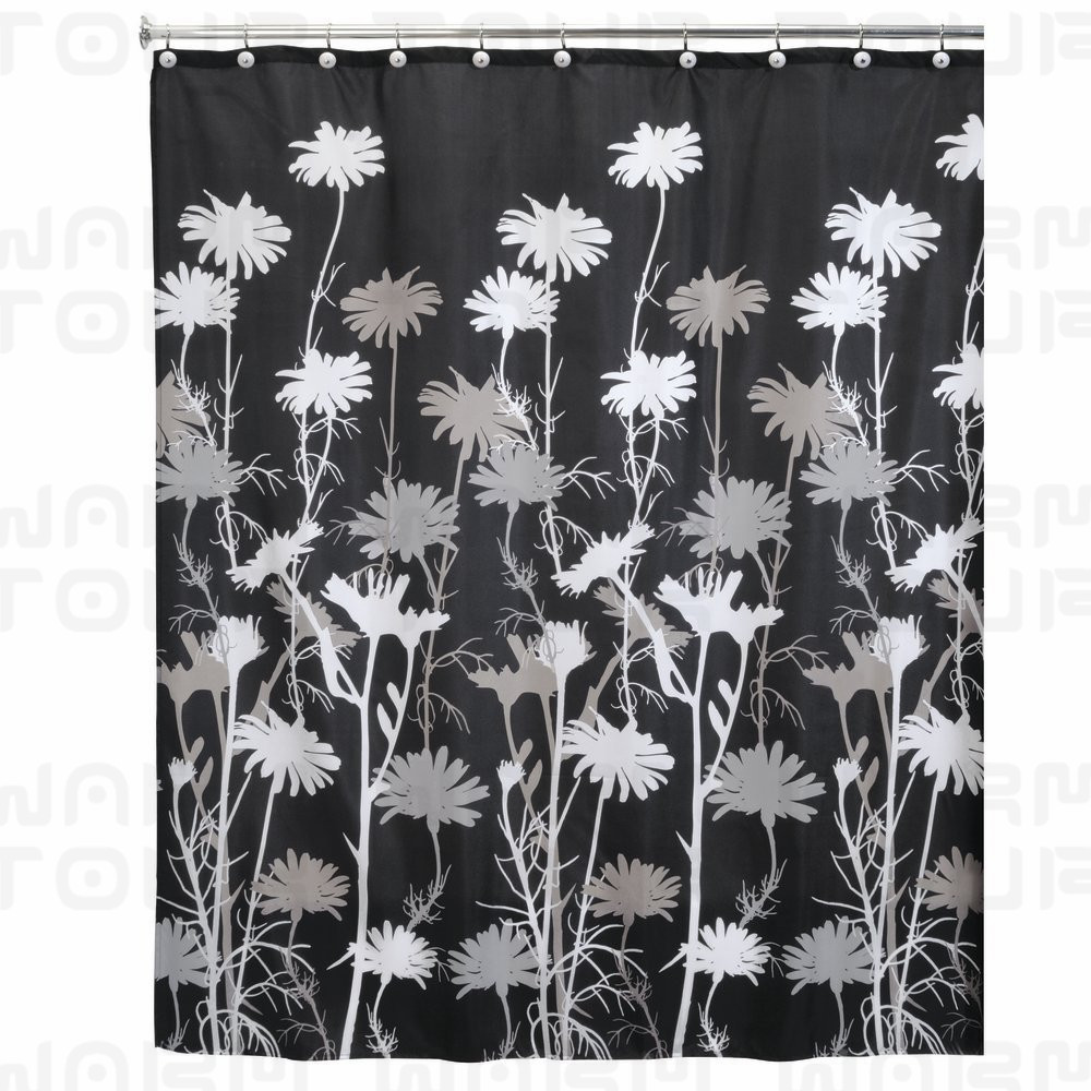 WARM TOUR Daisy Fabric Shower Curtain Waterproof Polyester Bath Curtain  Hospital U0026 Hotel With Hooks Ring Black/Gray/White