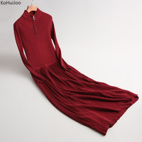 KoHuiJoo Fall Women Long Knitted Sweater Dresses Round Collar Fashion Zipper Plus Size Long Sleeve Elegant