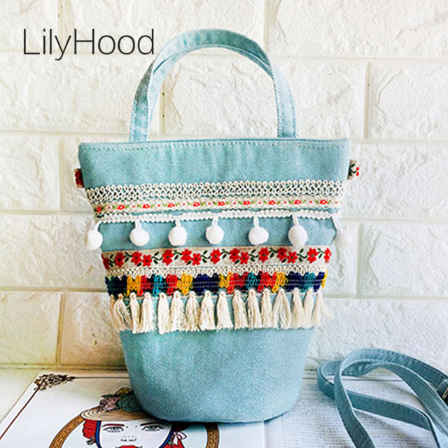 LilyHood Boho Fabric Bucket Shoulder Bag Women Candy Color Blue Pink Bohemian Ibiza Style Sweet Cute Crossbody Bag Gift Tote Bag