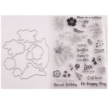 Bird Flowers Leaves Metal Cutting Dies or Rubber Clear Stamps for Scrapbooking DIY Embossing Folder Paper Maker Template Decor