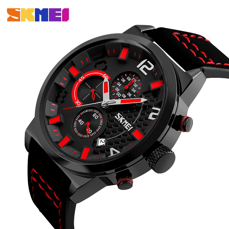 SKMEI New Sport Style Quartz Watch Men Leather Business Mens Watches Top Brand Luxury Stopwatch Wristwatch Date Waterproof 9149 tomi mens watches top brand luxury men business sport leather strap watch dress vintage style quartz wristwatch relogio t017