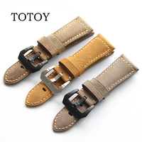 TOTOY high quality crazy horse leather rough leather strap brown yellow 24MM 26MM men's soft leather band for Panerai PAM strap