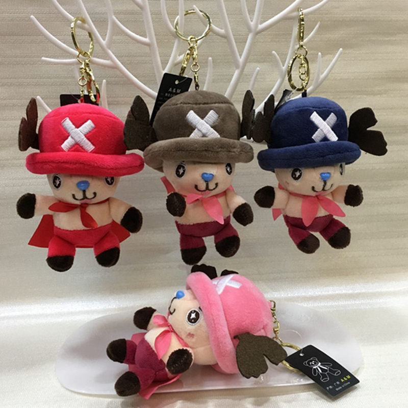 1PC 10cm One Piece Anime Tony Tony Chopper With Shawl Plush Toys Soft Stuffed  Doll Bag Pendants Key Chain Kids Birthday Gift