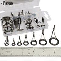 Pisfun 35pcs/box Fishing Rod Ring Guides For Rock Fishing Pole Stainless Steel Guide Tip Rings DIY Repair Kit