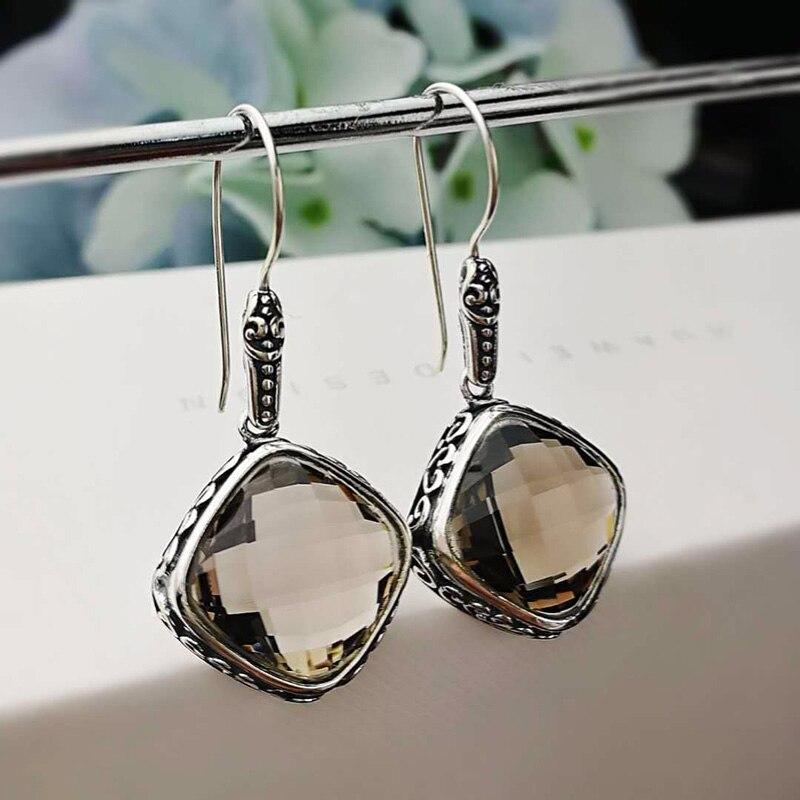 Boucles d'oreilles en argent Sterling 925 pierres précieuses naturelles Quartz fumé boucles d'oreilles à facettes pour femmes dames bijoux fins Design Vintage