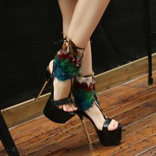 2016 New Summer Feather Decoration Super High Heel Sandals Thin Heels Female Sexy Women Shoes Size 35-40