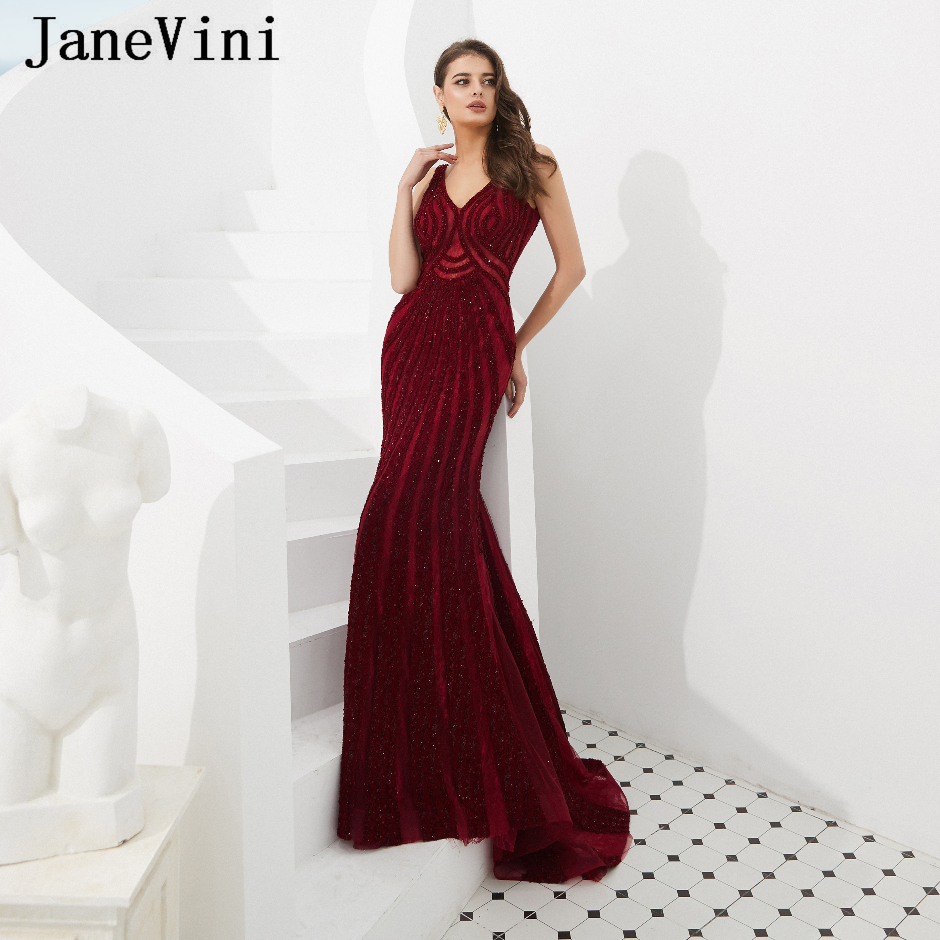 JaneVini 2019 Long Burgundy   Prom     Dresses   Robe De Gala Sexy V Neck Luxury Beading Tulle Sweep Train Formal Evening Party Gowns
