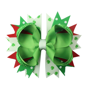 Image 5 - 6pcs  St. Patrickday green Funny Clover Faux hairgrips Hair Bows Grosgrain Ribbon For Girls Hair Accessories Boutique gifts