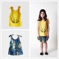 BOBOZONE mãos amarelas tiras Sem Mangas t-shirt 2017 novo tee superior para as meninas crianças pré-venda