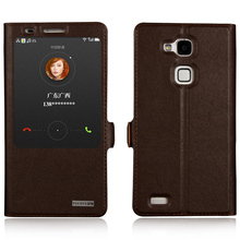 Window Smart Cover Case For Huawei Ascend Mate 7 Mate7 Top Quality Genuine Leather Magnet Flip Stand Mobile Phone Bag +free gift