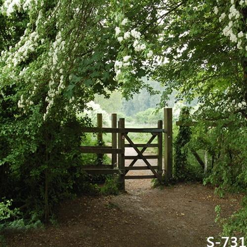 10x10ft White Flowers Branch Green Trees Garden Wooden