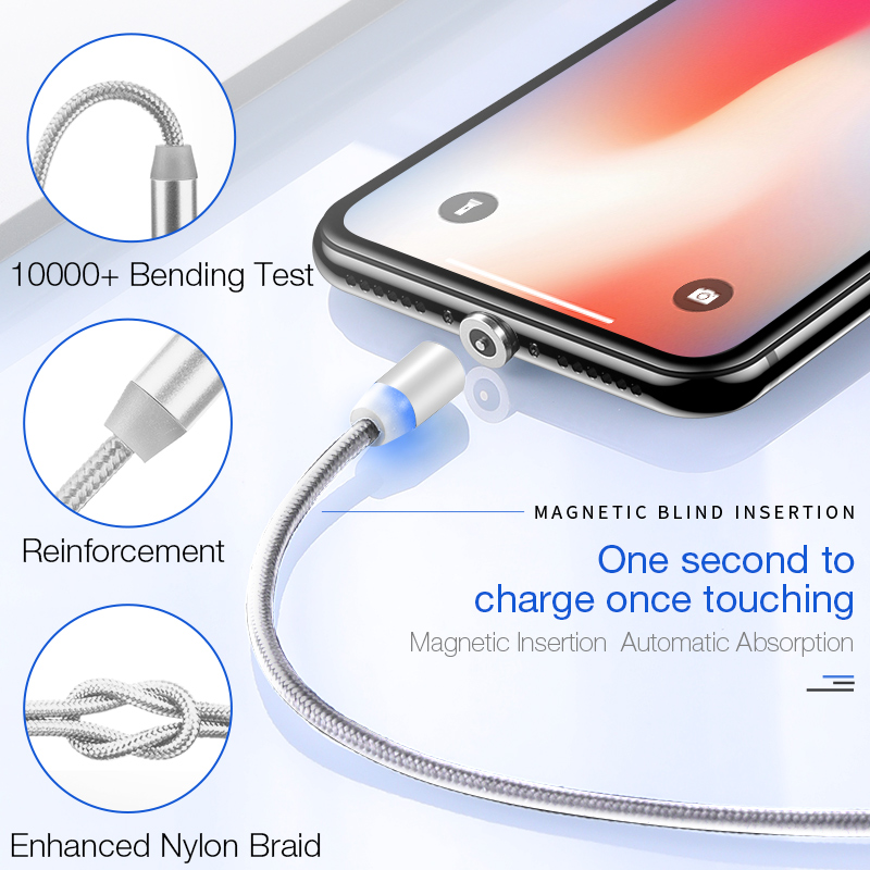 LED Magnetic USB cable for iphone X Xs Max Samsung S9 Huawei Xiaomi USB Cable for IOS Micro type c usb port 2A charger cables in Mobile Phone Cables from Cellphones Telecommunications