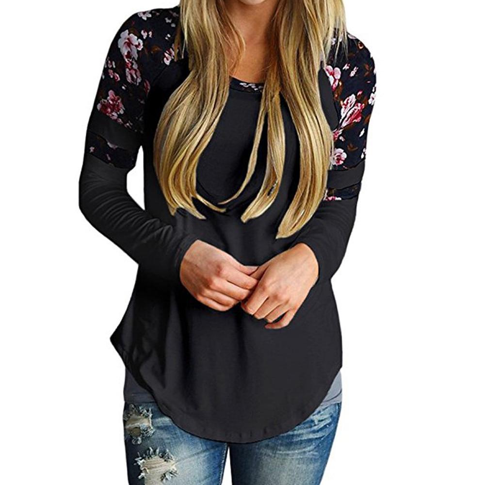 FREE OSTRICH T-Shirt Printed Patchwork Autumn Women Long Sleeve Tunic Top Loose Asymmetric Top Tee C1635