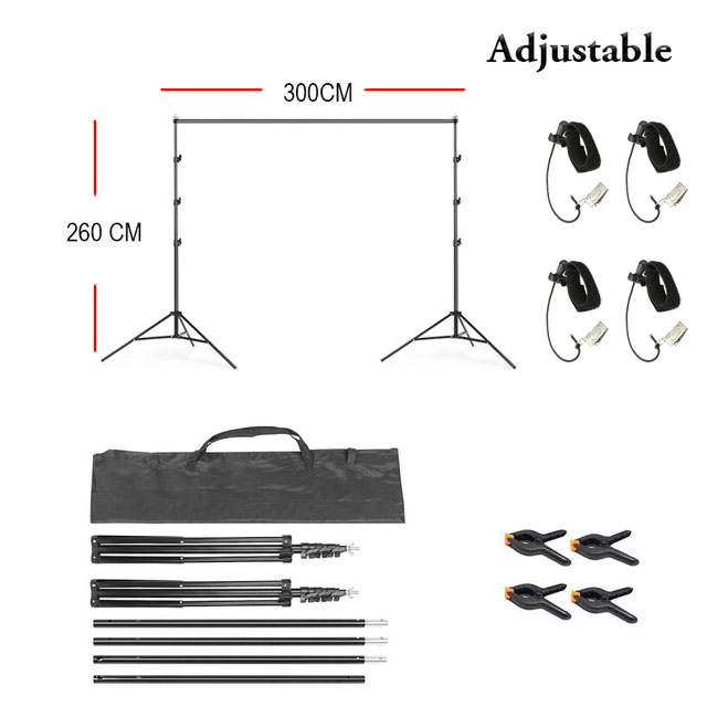 2.6x3 m (8.5x10 Ft) Backdrop Support Stand Kit clips Photography Background