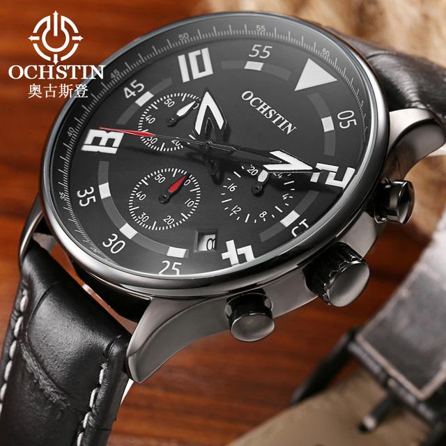 Ochstin choque homens relógio de pulso de couro marca de luxo 2017 dos homens relógio cronógrafo de quartzo esportes relógio de pulso militar à prova de água