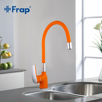 Frap Orange Silica Gel Nose Very Flexible Kitchen Faucet Cold And Hot Water Filtered Mixer Taps