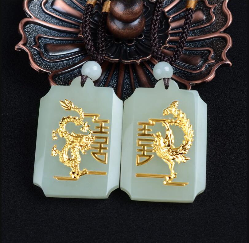 Naturel HeTian Yu 100% pur solide Dragon Phoenix chanceux amulette pendentif + collier + certificat bijoux fins/