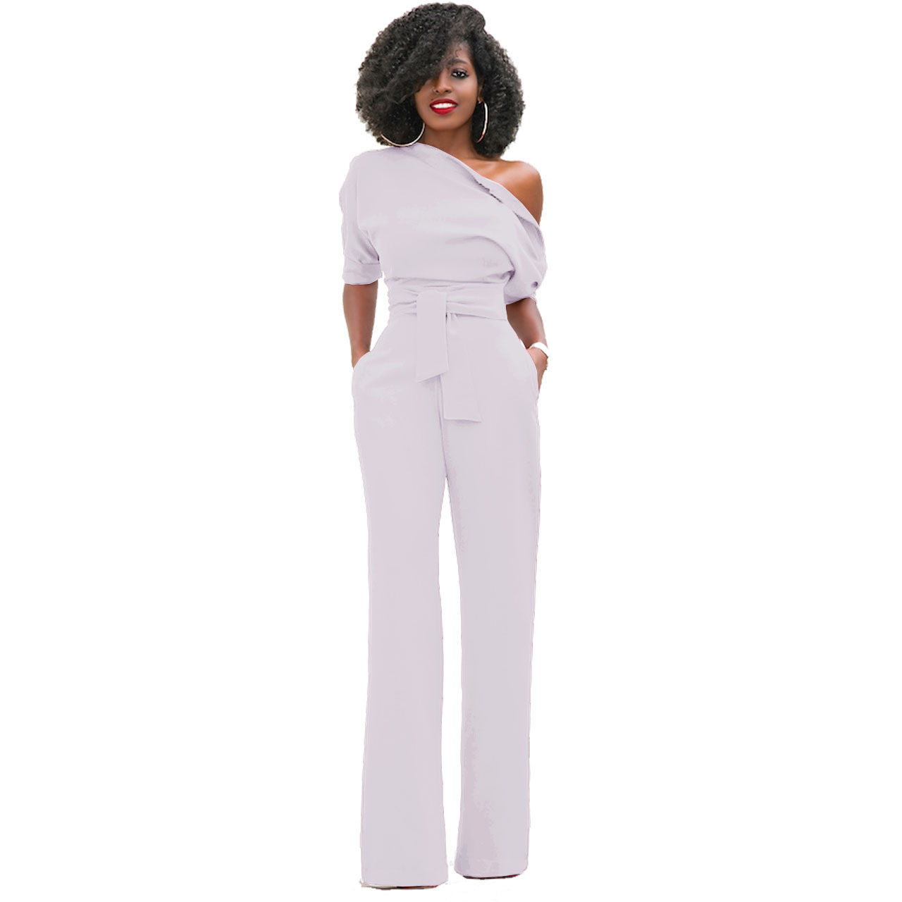 23241d33921c Detail Feedback Questions about Bodycon Off Shoulder Plus Size Solid Jumpsuits  Romper Ruffles Solid Wide Leg Overalls for Women Short Sleeve One Piece ...