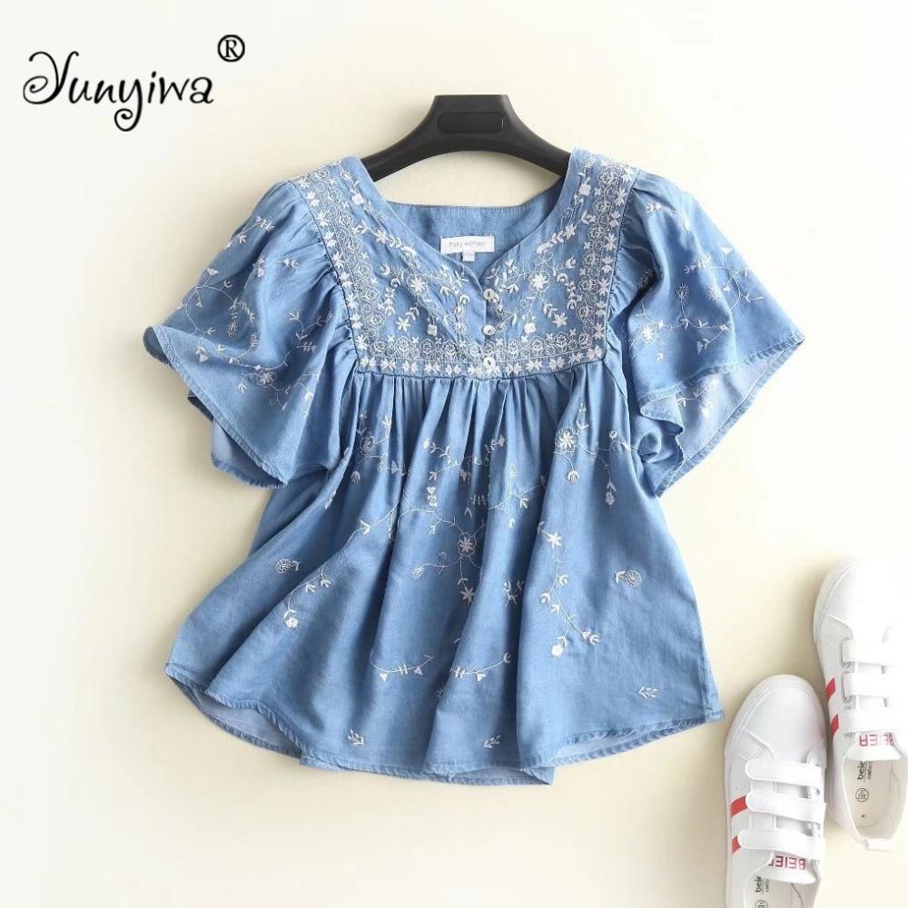 Yuuyiwa Women Blouses Shirts Women's V-neck short denim embroidery blouse Tops Blusas Mujer De
