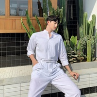 Streetwear Stage Show Trousers Men Summer Cotton Linen Loose White Jumpsuits Male Long Sleeve Stand Collar Shirt Overalls Pant