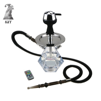 SY Polygonal Acrylic Hookah Set Plastic Telescopic Hose Silicone Bowl Charcoal Holder Acrylic Hookah Water Container