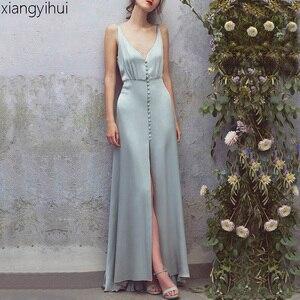 Женское длинное пляжное платье, зеленое атласное шелковое платье без рукавов с v-образным вырезом и открытой спиной, вечерние платья с разре...