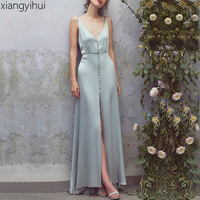 Summer Sexy Deep V Neck Sleeveless Faux Silk Satin Long Dress Female Women Elegant Backless Split Bodycon Maxi Party Dress 2018