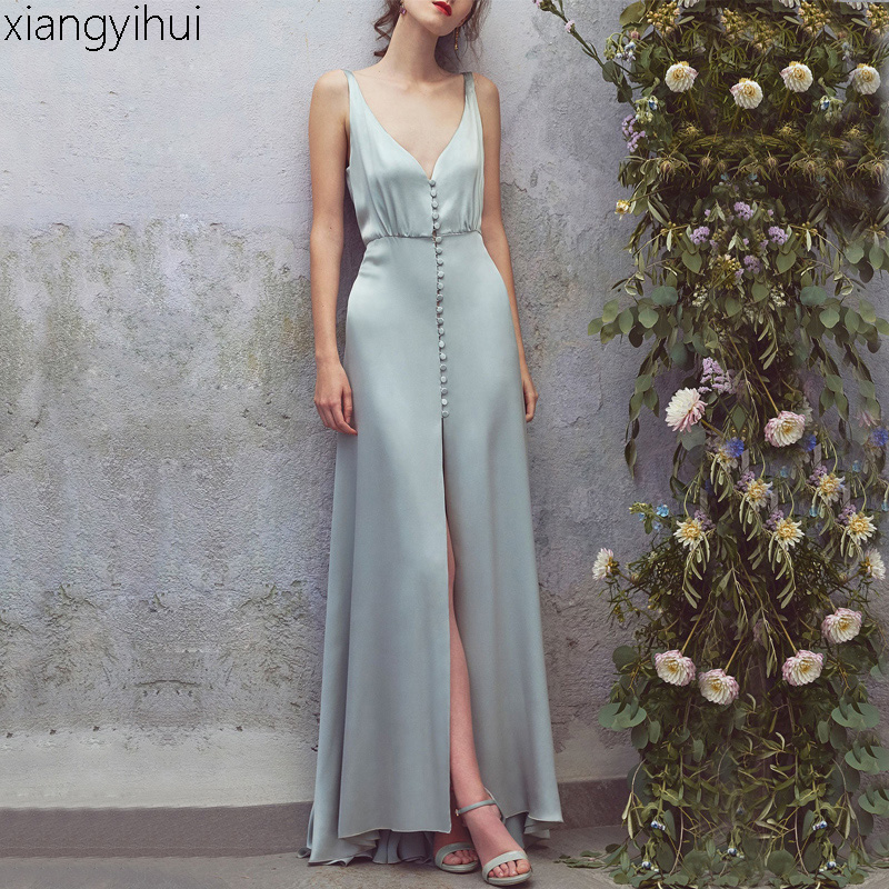 Summer Sexy Deep V Neck Sleeveless Faux Silk Satin Long Dress Female Women Elegant Backless Split Bodycon Maxi Party Dress 2018