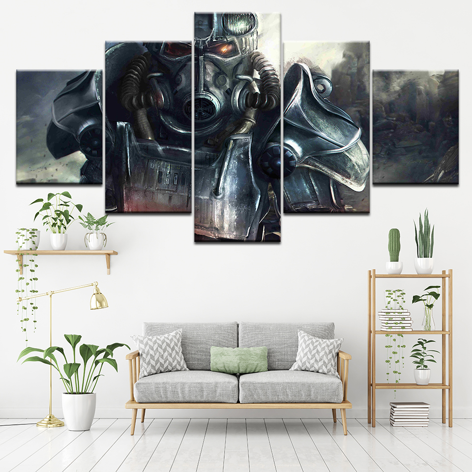 HD Printing Pictures Home Wall Art Decoration Living Room 5 Pieces Fallout Game Canvas Painting Modular Poster Framed Artworks image