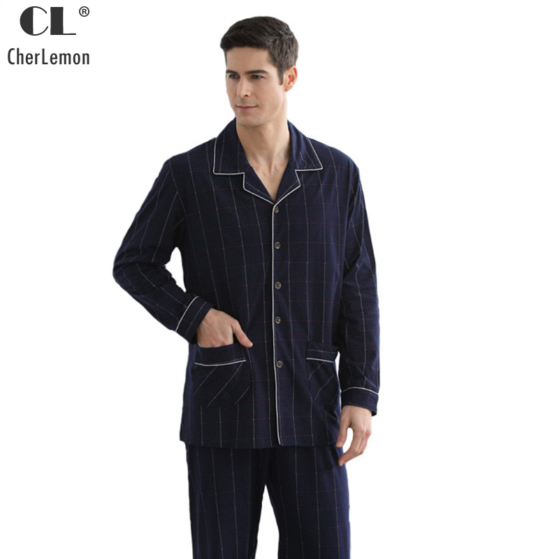 CherLemon 2018 Spring Mens 100% Cotton Casual Plaid Polka Dot Pajama Sets Male Classic Long Sleeve Turn Down Collar Homewear