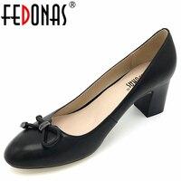 FEDONAS Femmes de Mode Épais Haute Talons Pompes Confortable En Cuir Véritable Printemps Été Automne Chaussures Femmes Dames Bureau Pompes