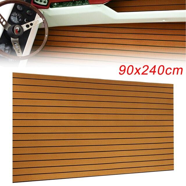 Self-Adhesive 240cmx90cmx5mm Gold With Black Lines Marine Flooring Faux Teak EVA Foam