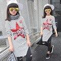 Moda primavera Meninas de Manga Comprida Strip Thisrt Irregular Tshirt Longo Crianças de Cinco Estrelas Impressão Casul Crianças Roupas