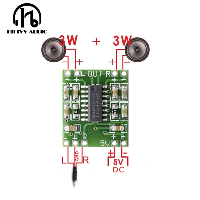 Hifivv Audio 2x3W Mini Digital Power Amplifier Board For Class D Stereo Audio Amplifier Module 5V Power