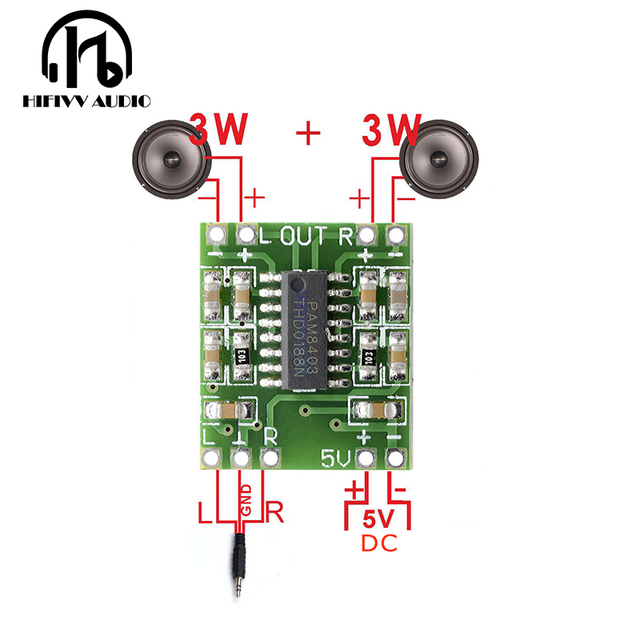Hifivv audio 2x3W Mini Digital Power Amplifier Board for Class D Stereo Audio Amplifier Module 5V Power