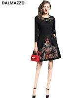 2018 Spring Newest Women Fashion Black Embroidery Cotton Zippers Pocket Dresses High Quality Runway Mini Short Dress XXL