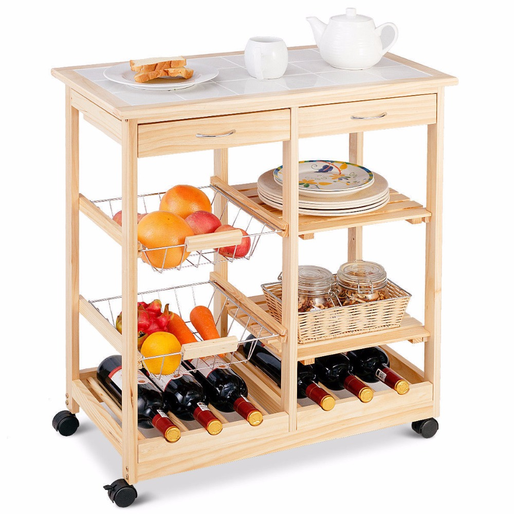 Goplus Rolling Wood Kitchen Trolley Cart Island Shelf w/ Storage Drawers Baskets New HW58491NA 2