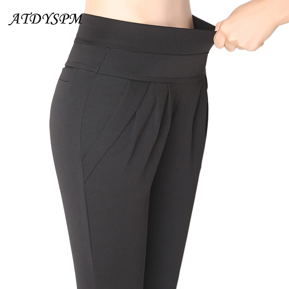 Women's High Quality Harem Pants Elegant Stretch Pleated Long Pants Trousers Female High Waist Plus Size 4XL Loose Casual Pants